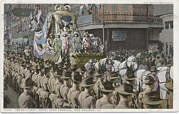 Vintage postcard of Rex Parade, Mardi Gras, New Orleans