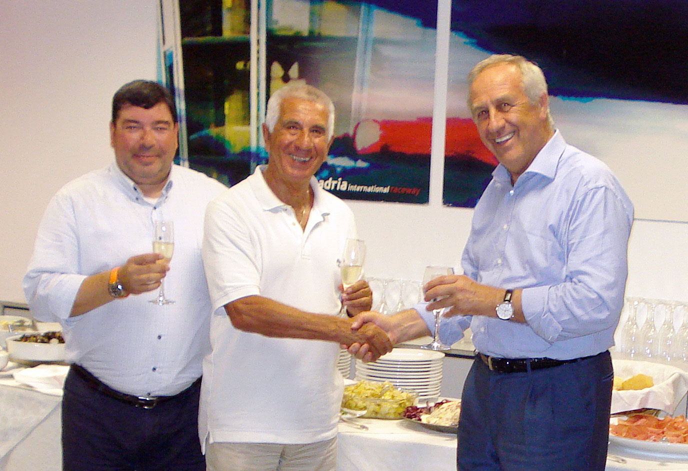UEM President Vincenzo Mazzi and UEM Vice-President Luigi Favarato with the owner of the Adria track Giuliano Toè.