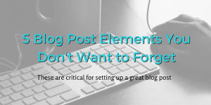5 Blog Posts Elements You Don't Want to Forget