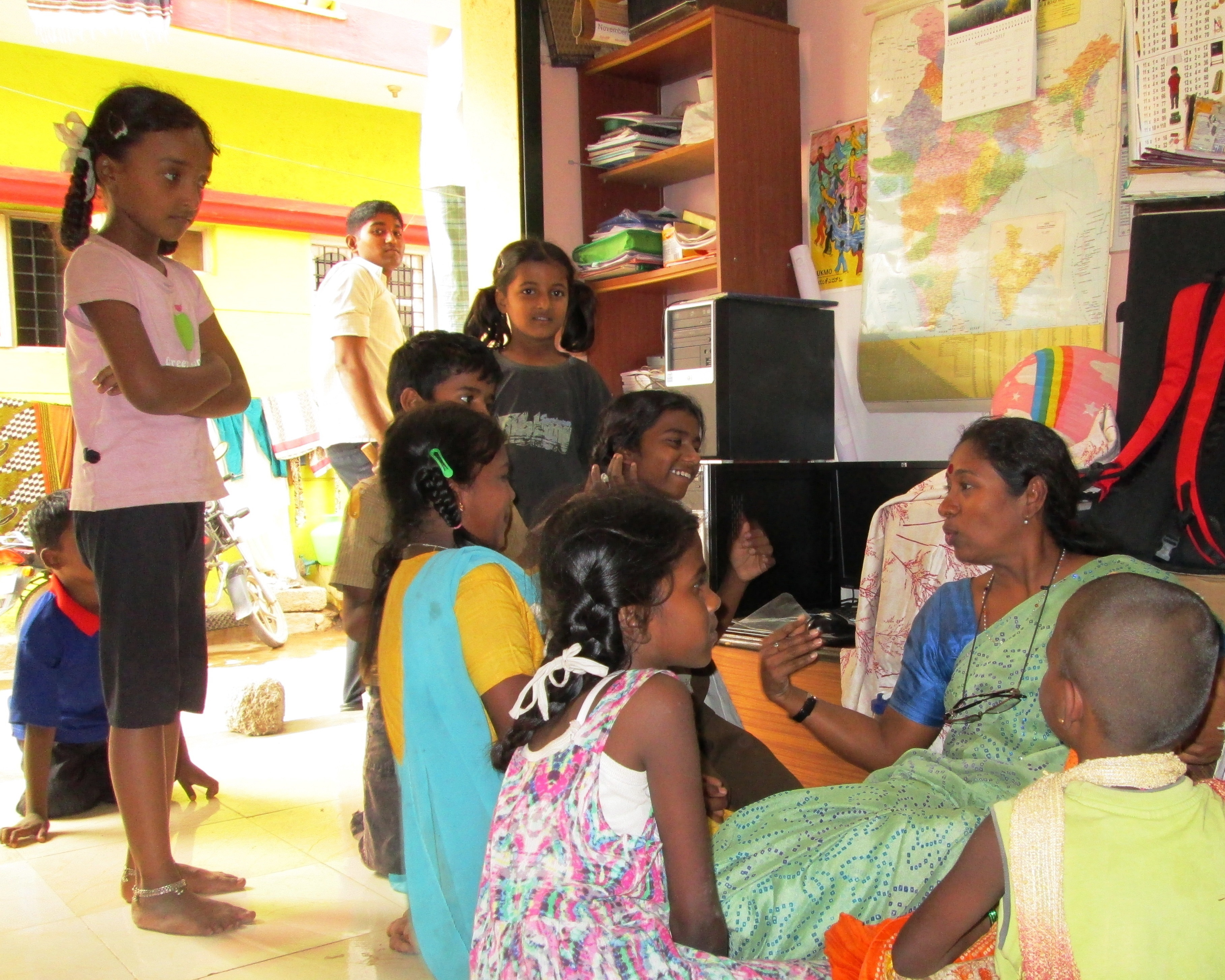 3.	These girls come to the GCI office in the slum every day and participate in the Children's Creativity programme