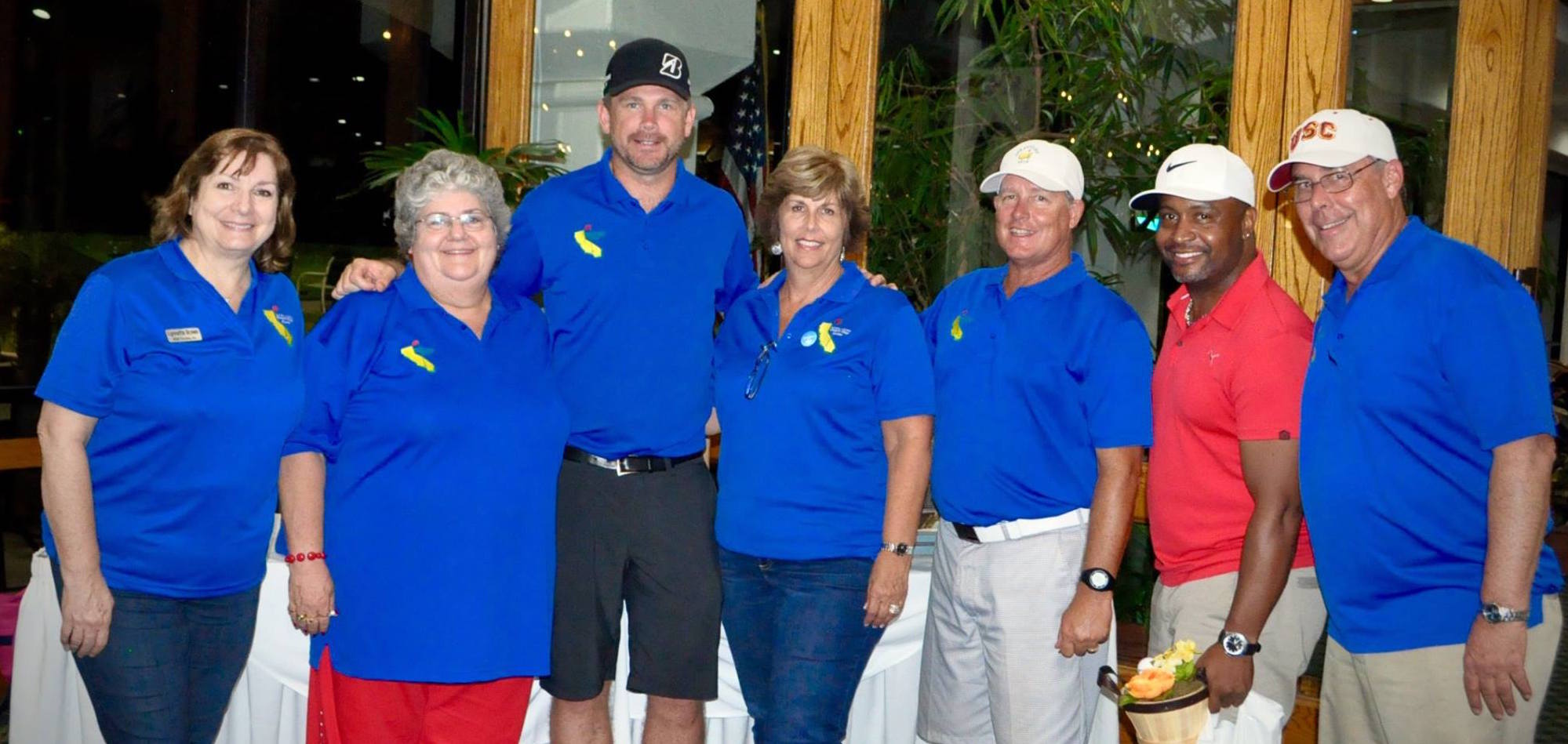 Organizers of the Southern California Charity Golf Classic - Lynnette Brown, Karon Mulligan, Zeb Welborn, Jan Edwards, Ron Capps, Dana Godfrey. Also pictured is Mel Austin.