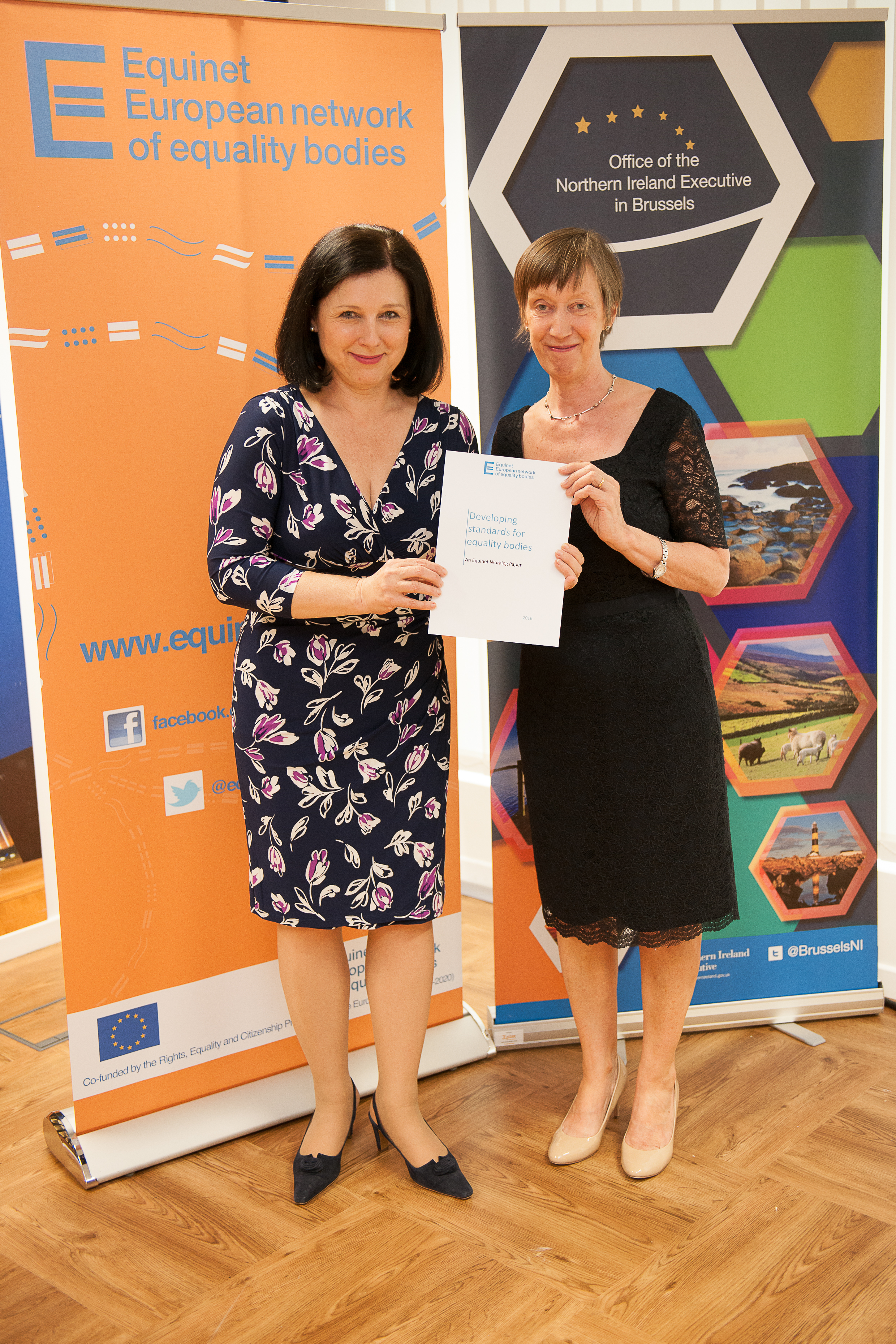 Photograph Commissioner Jourova with Equinet Chair Evelyn Collins