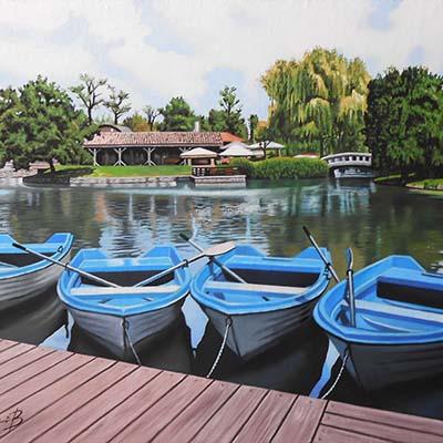 Boats on a lake by Alexander Titorenkov