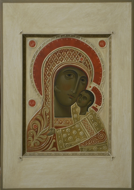 Contemporary Icon of the Mother of God Petrovskaya by Olga Shalamova