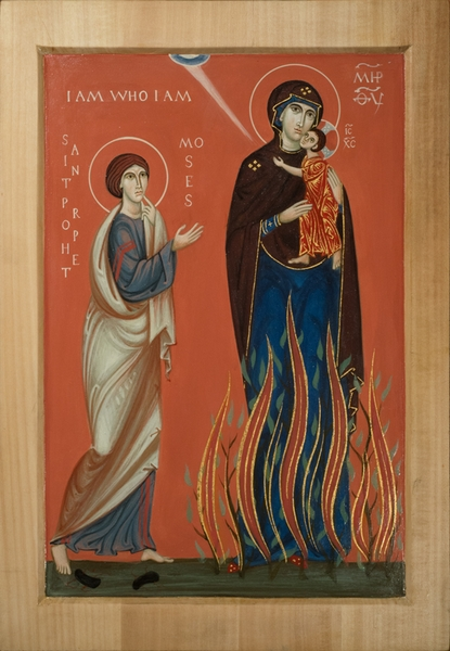 Icon of the Mother of God in a burning bush, prophet Moses and veneration of the snake. The area below gives the text of the Ten Commandments.  by Philip Davydov. 2015