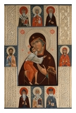 The Mother Of God Feodorovskaya with selected saints: st. Spiridon, st. Olga, st. David of Garedja, st. Joakim, st. Anna, st. Symon the Myrrh-Giver, st. Luke Vojno-Yasenetsky. 2014  by OLga Shalamova