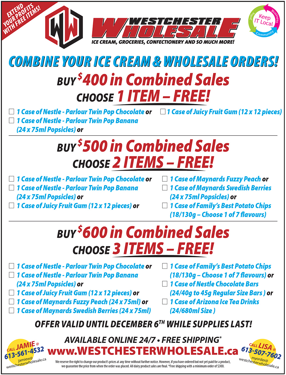 Combine Your Ice Cream & Wholesale Orders - Choose FREE Items!