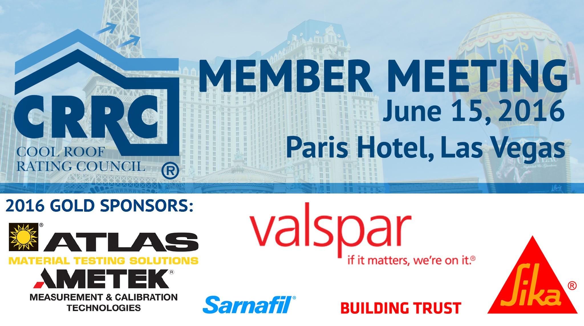 2016 Member Meeting, Gold Sponsors: Atlas Material Testing Technology, LLC; Sika Corporation; and Valspar Corporation.