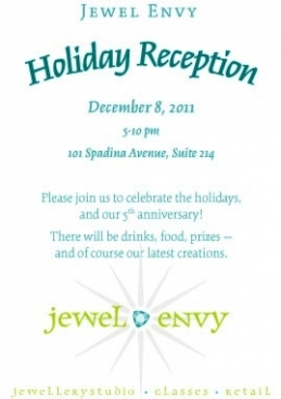 Jewel Envy  Anniversary Party,  Thursday December 8th, 2011; 5pm-10pm