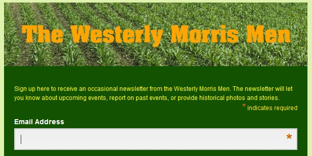 Westerly Morris Men newsletter sign up link