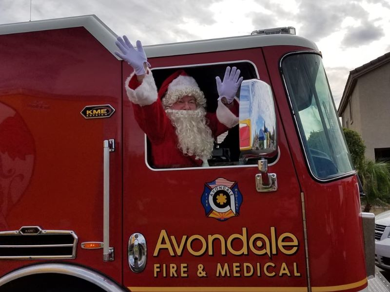 Load images to see Santa arriving by Avondale fire truck!