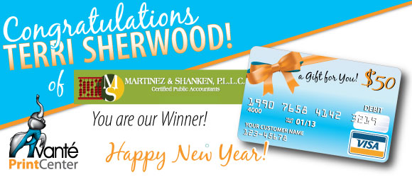 Congratulations Terri Sherwood of Martinez & Shanken! You are our Holiday Give-Away Winner! Happy New Year!