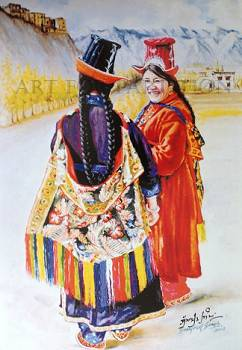 """[Turn on images to view painting: """"Ladakhi Dress"""""""