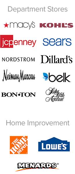 Macy's, Kohl's, JCPenney, Sears, Nordstrom, Dillard's, Neiman Marcus, Belk, Bon Ton, Saks Fifth Avenue, The Home Depot, Lowe's, Menards