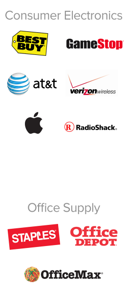 Best Buy, GameStop, AT&T, Verizon Wireless, The Apple Store, RadioShack, Staples, Office Depot, Office Max