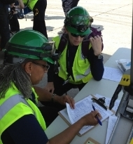 NERT volunteers at a command post drill