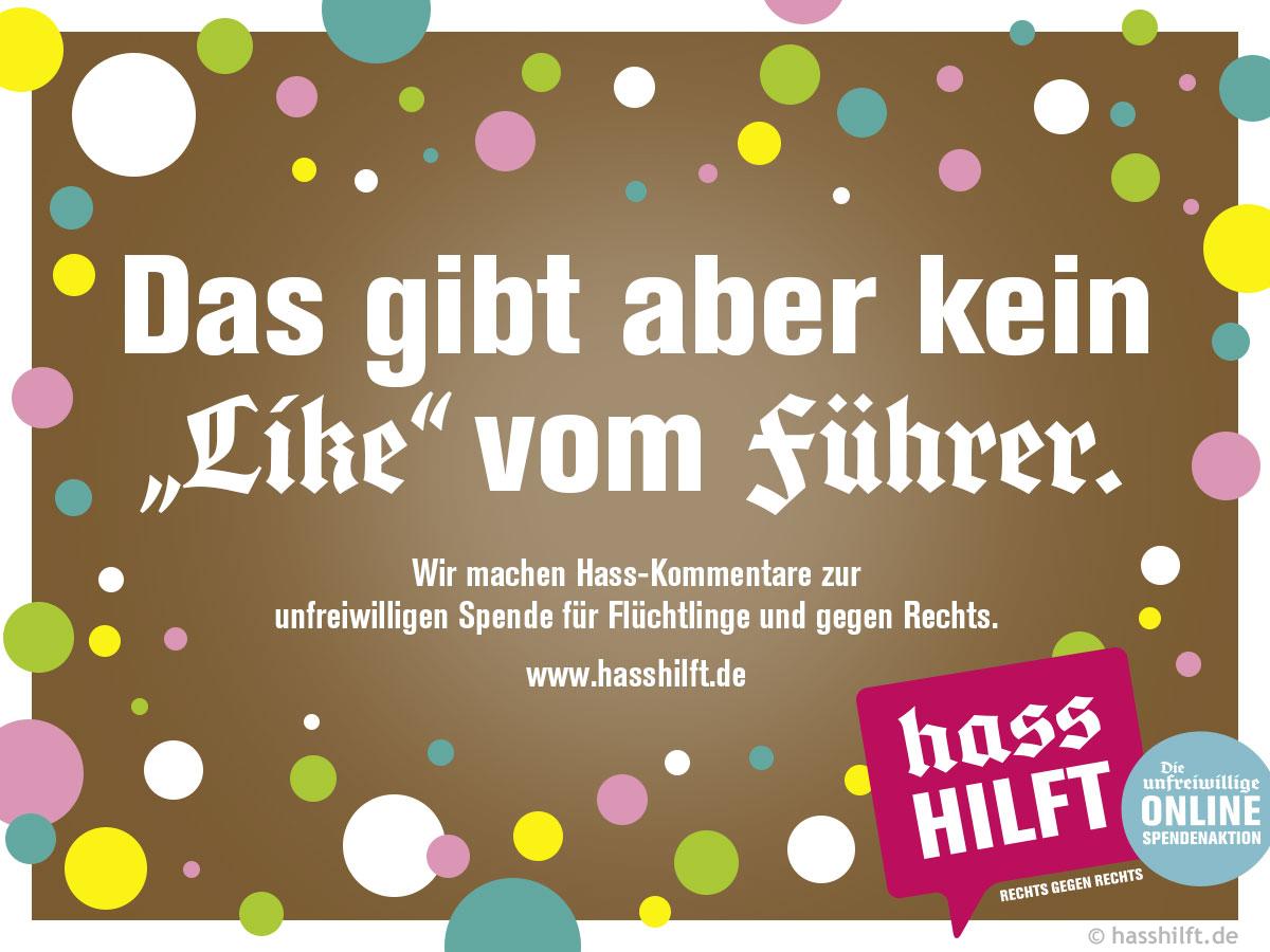 """Bildmotiv """"Das gibt aber kein """"Like"""" vom Führer."""" der Initiative """"Hass hilft"""""""