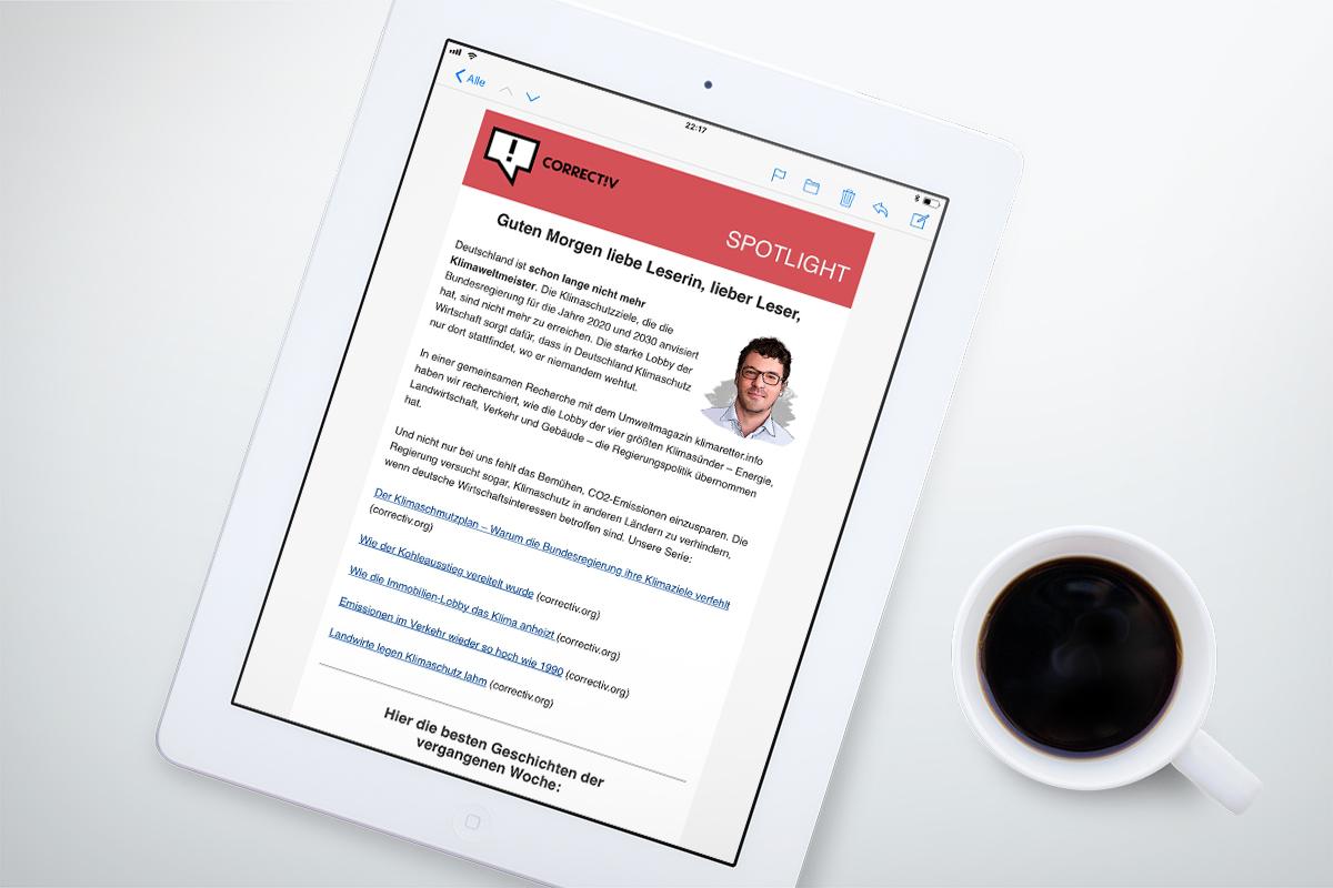 Eine Ausgabe des Correctiv Newsletters auf einen iPad.