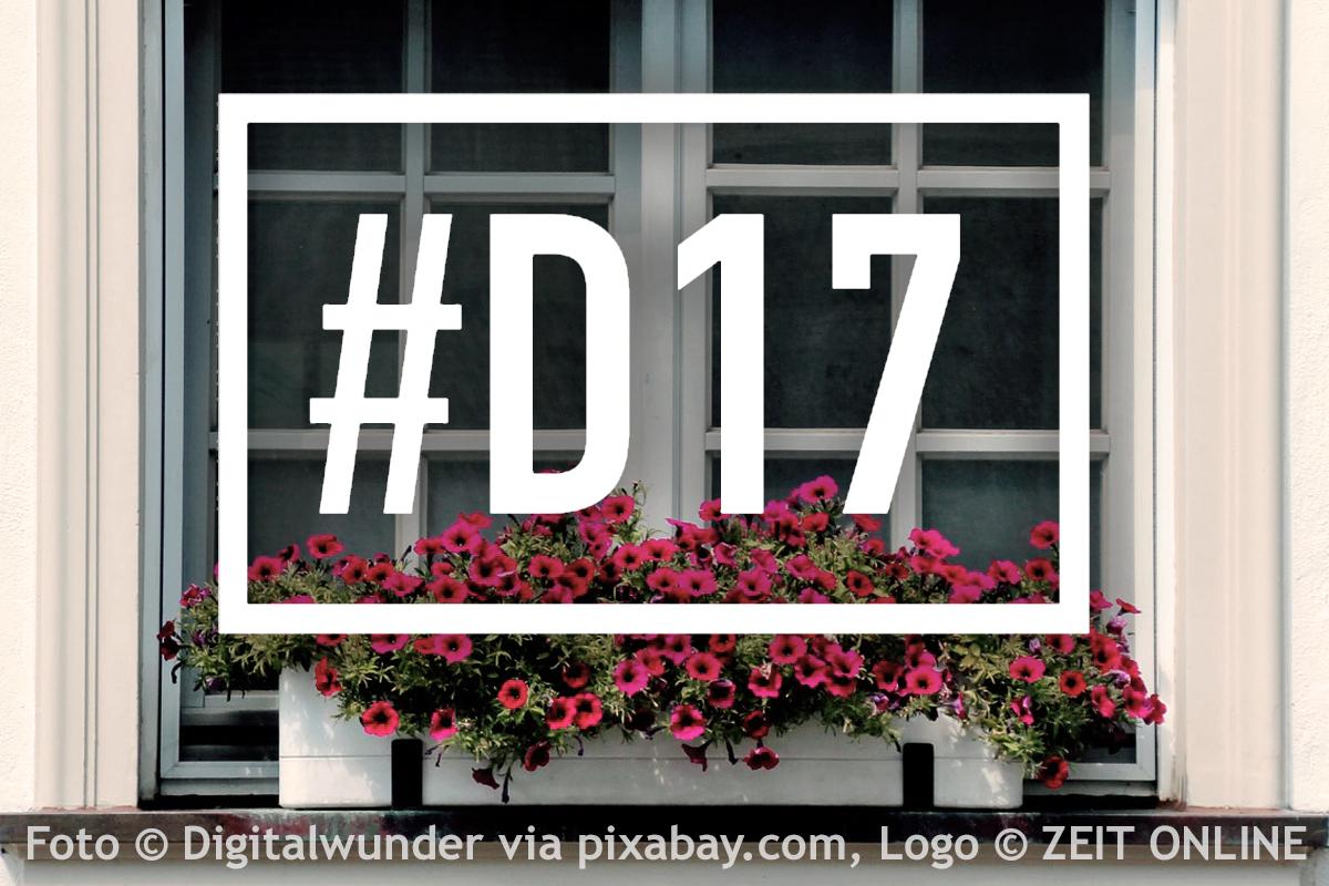 ZEIT ONLINE #D17 Logo vor einem Fenster.