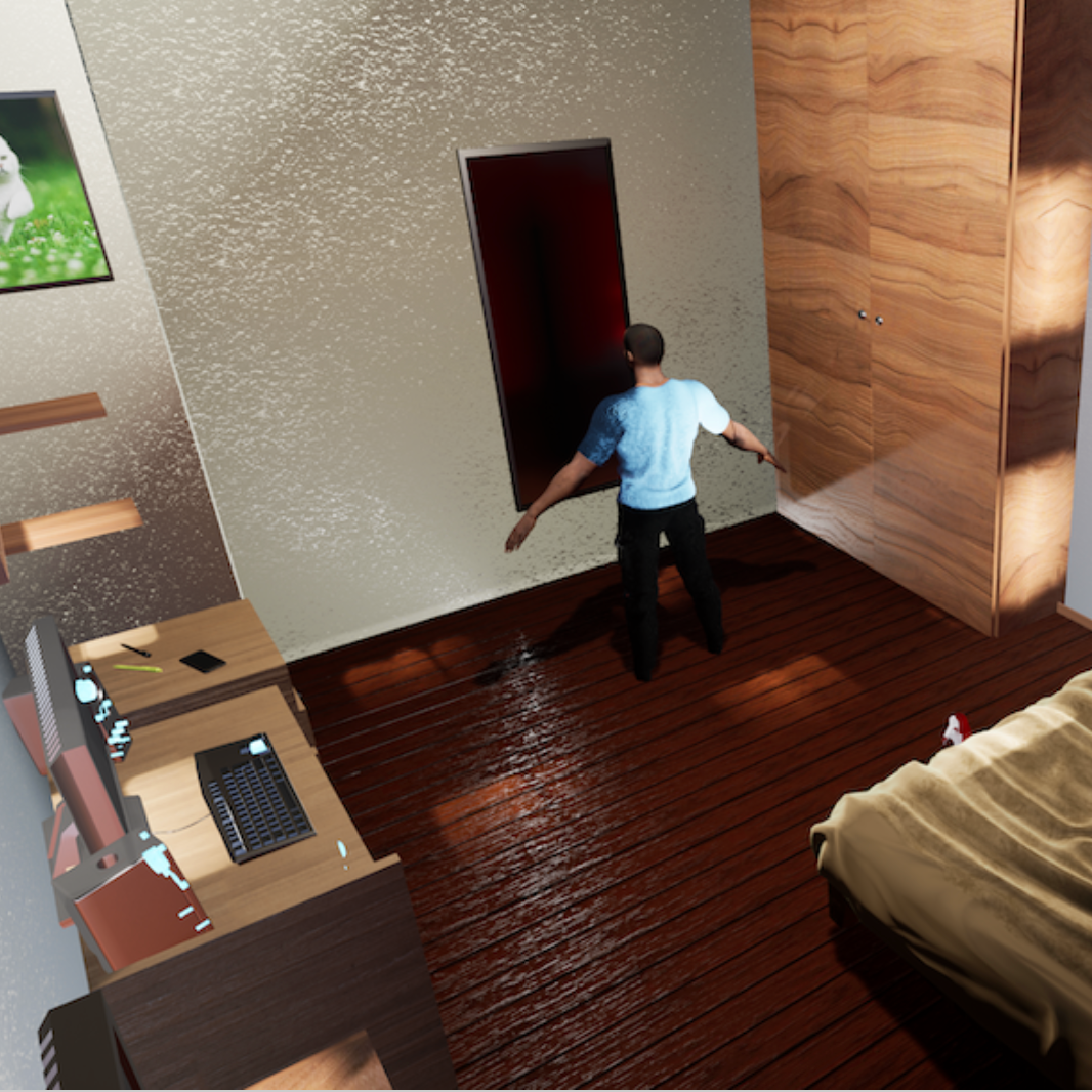 A screenshot of a VR game on racism. It depicts a young black man in his bedroom standing in front of a mirror.