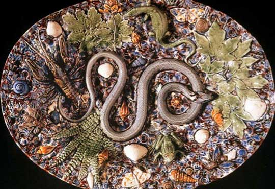 A lifecast snake in a dish by French craftsman Bernard Palissy.