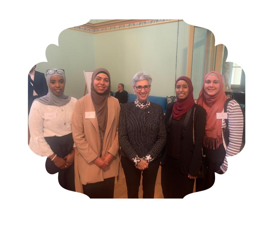GLP Coordinator Nuha, alongside program participants and Her Excellency the Honourable Linda Dessau AC (pictured centre)