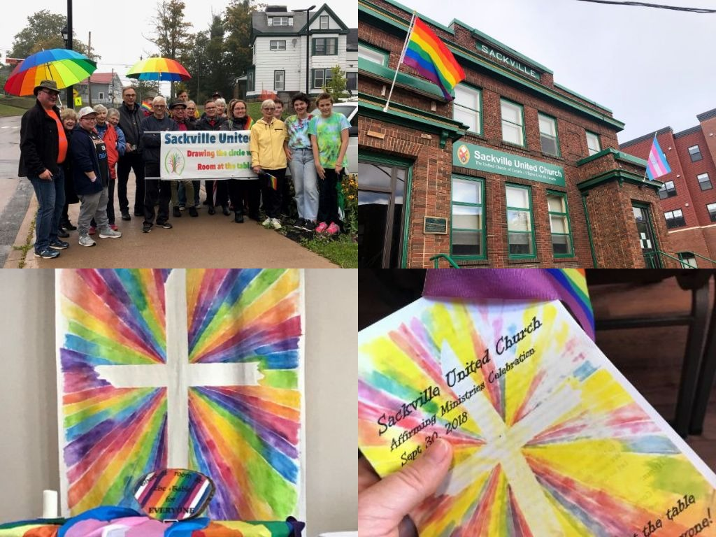 """A collage of photos: rainbow burst banner at the altar and as bulletin cover; above, a group of people with """"Sackville United Church"""" banner, and the church with a rainbow and trans flag."""