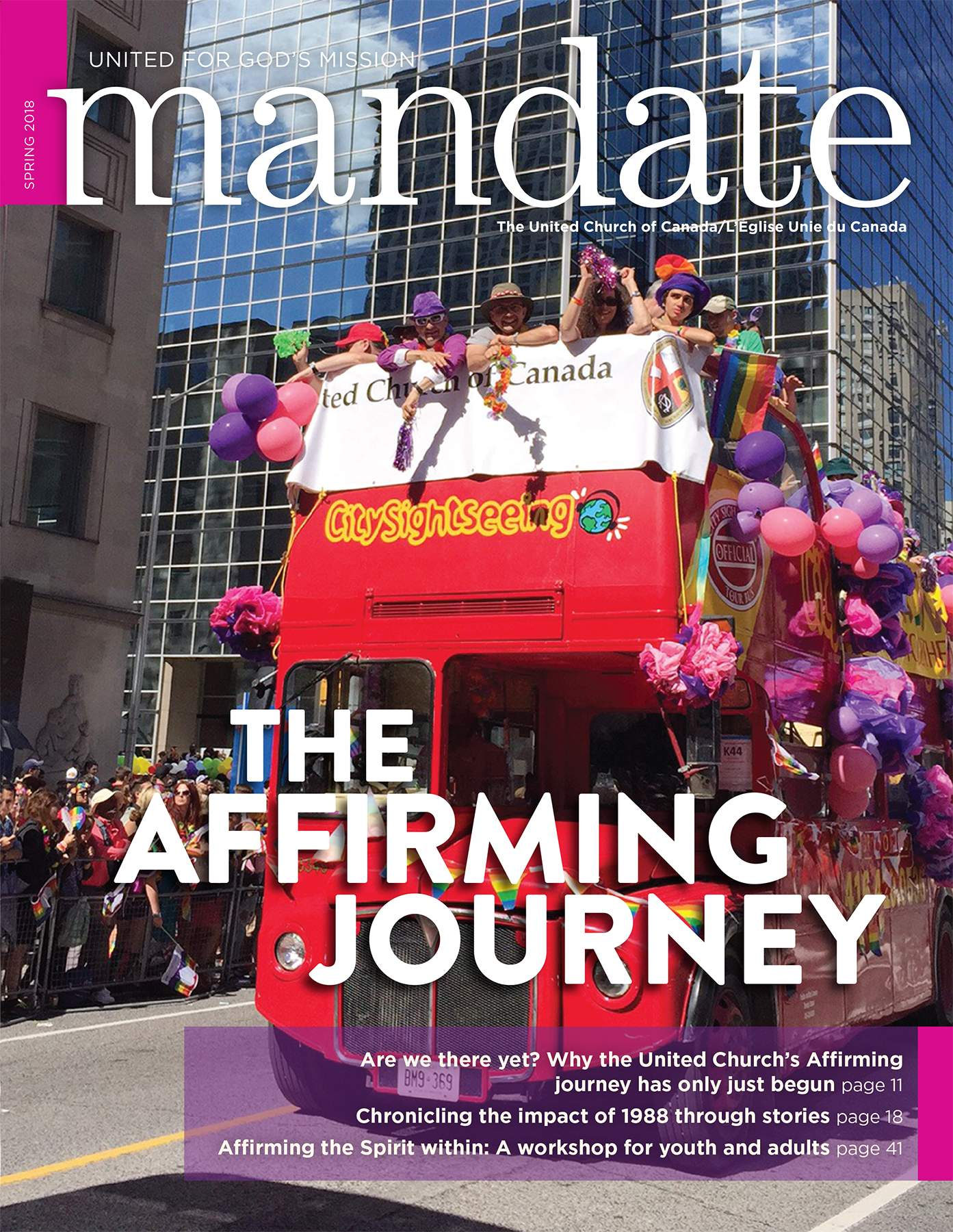 Front cover of Mandate magazine: churches' big red double decker Pride bus, with the title: The Affirming Journey.