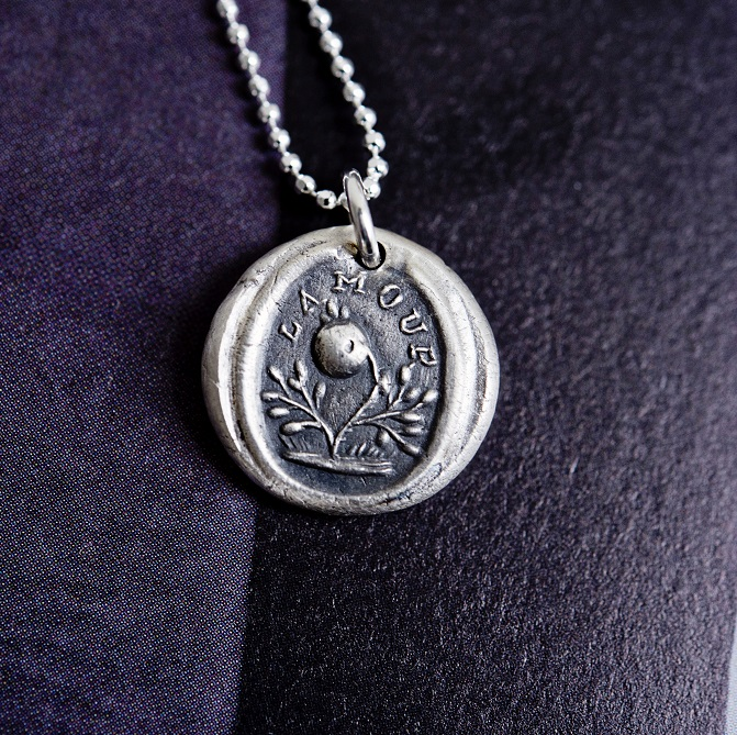 Handmade L'Amour French wax seal necklace