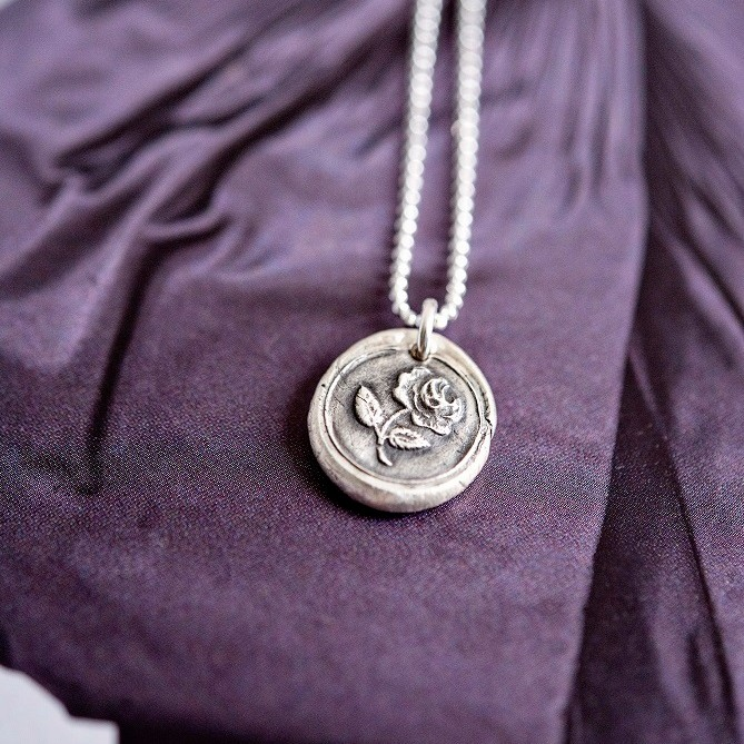 Handmade rose wax seal charm necklace