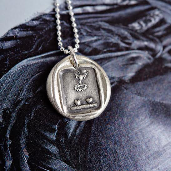 Handmade love charm wax seal necklace