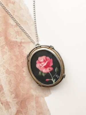 Antique 800 silver handpainted rose brooch pendant necklace