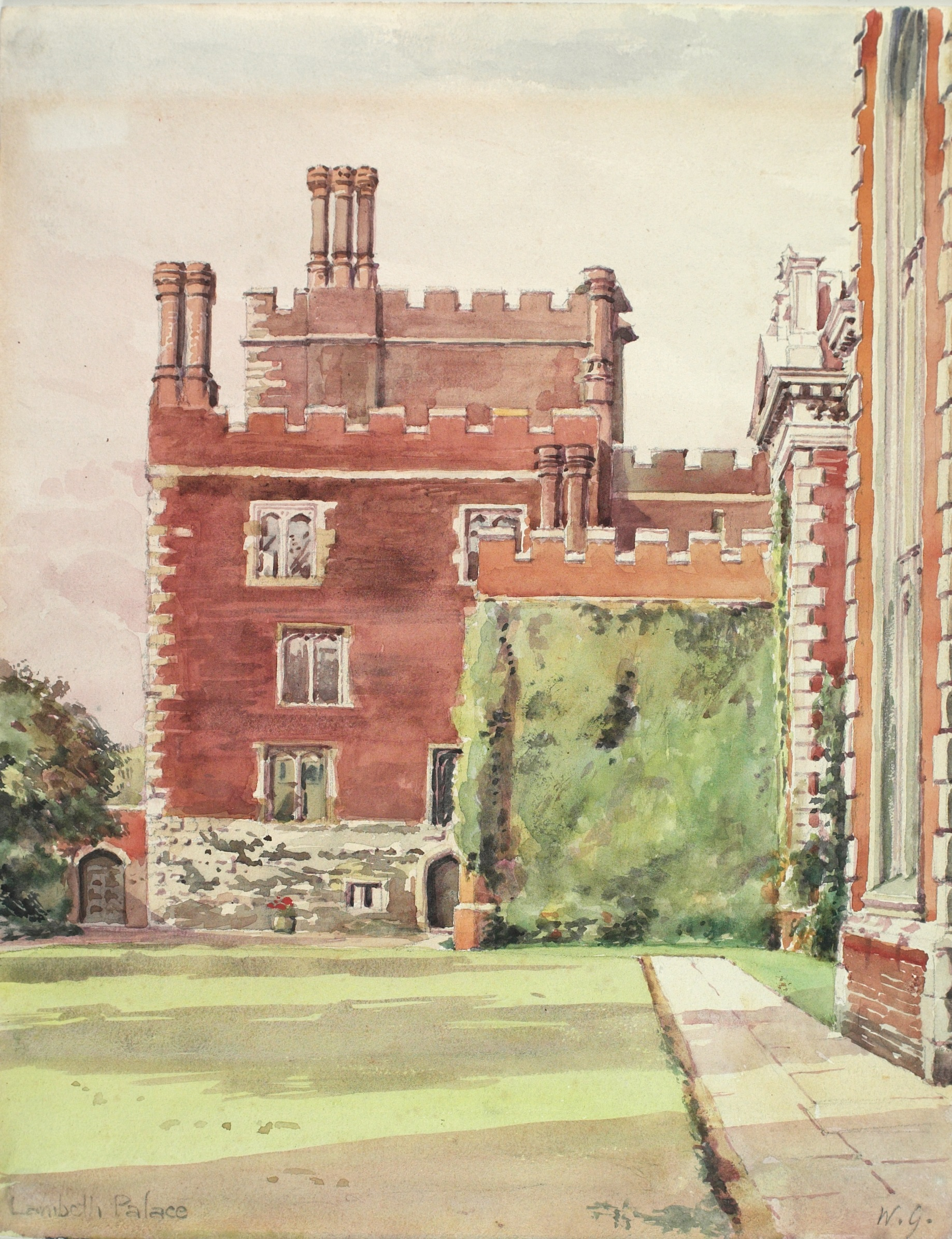 Print showing Lambeth Palace and gardens (Prints PYT 0032)