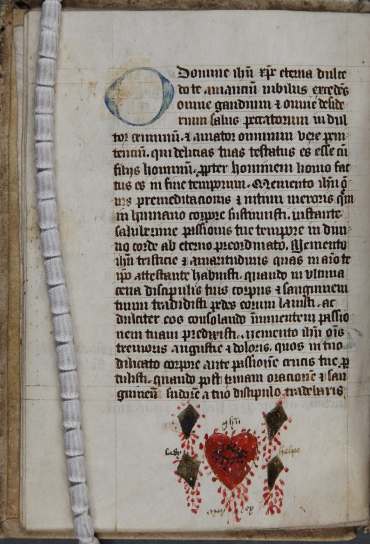 Page showing illustration of the five wounds of Christ, from MS 3774 f.5v