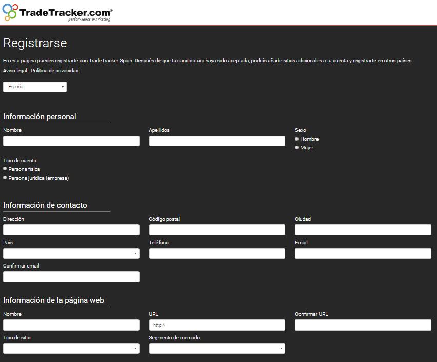 formulario tradetracker