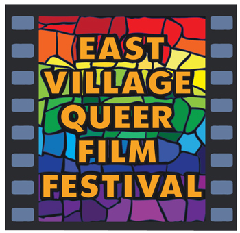 """rainbow graphic that reads """"east village queer film festival"""""""