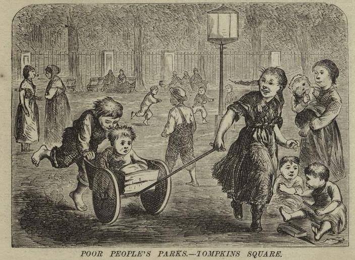 """lithograph of children playing with a caption that reads: """"poor people's park - tompkins square"""""""