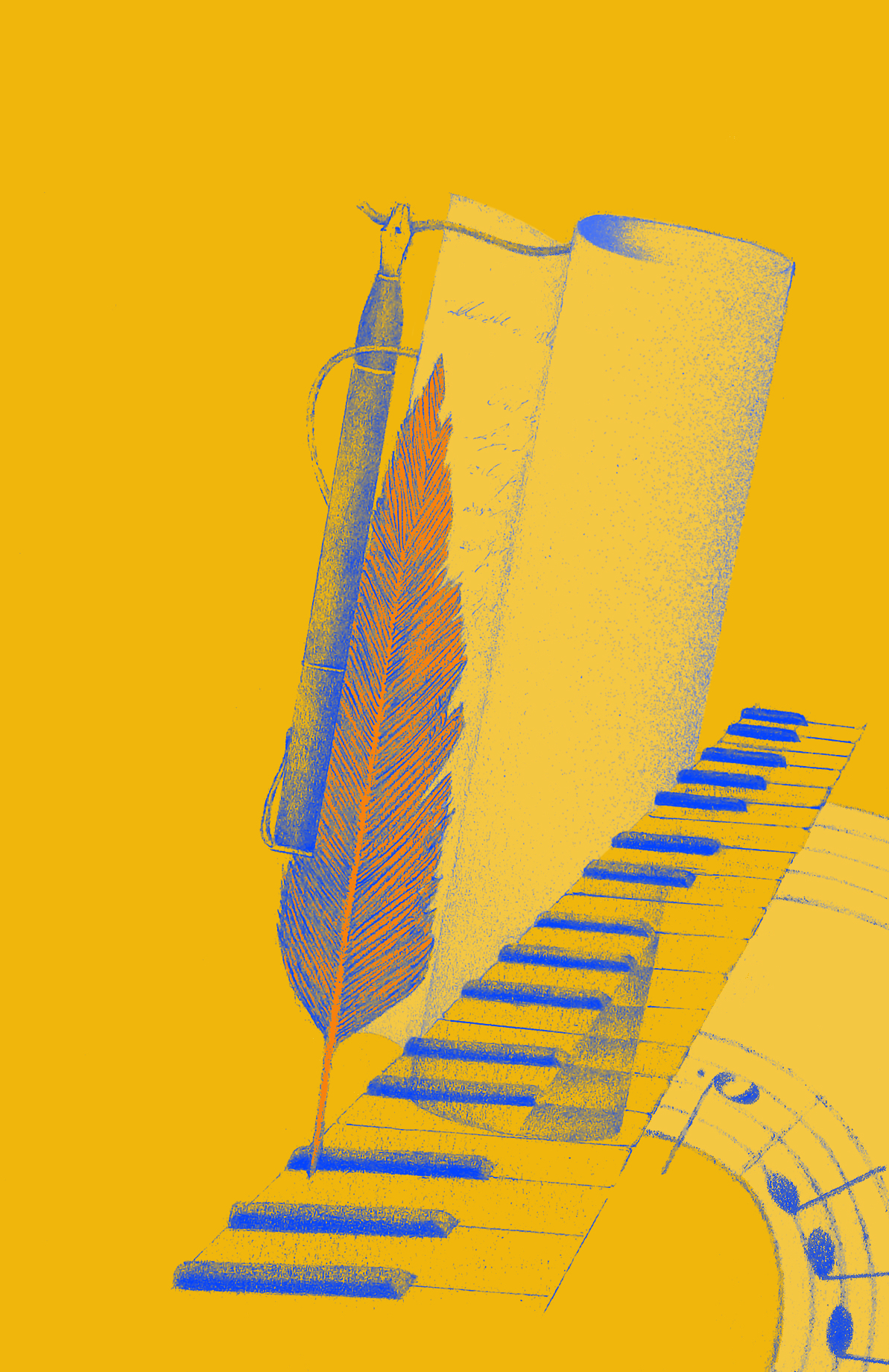 yellow and blue graphic of a keyboard, pen, and paper