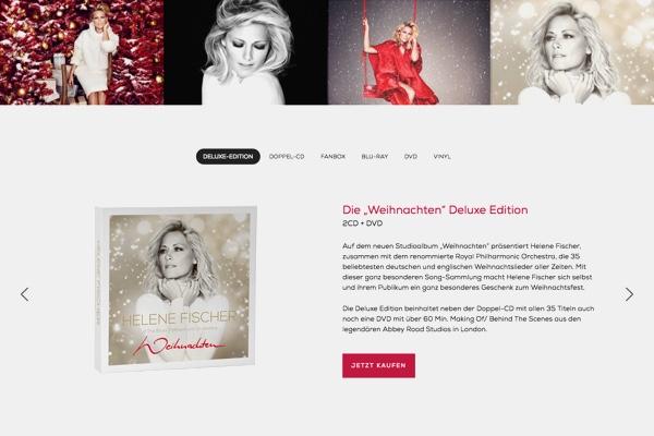 Screenshot Helene Fischer Onepager