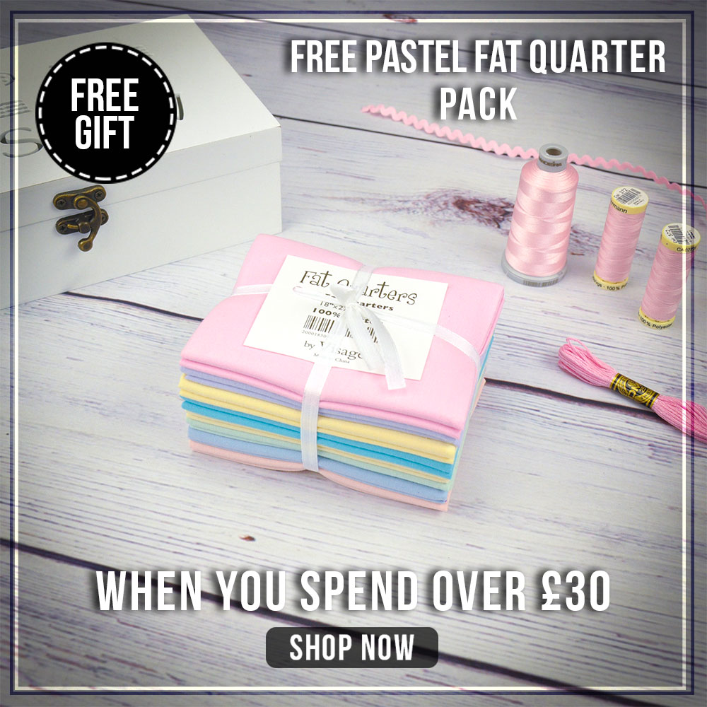 Free pastel fat quarter pack - worth £12.00!