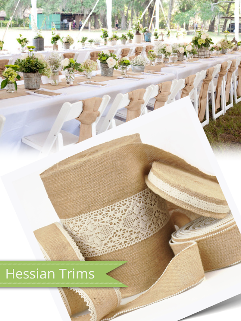 Hessian trims bring some beautiful rustic charm to your projects!