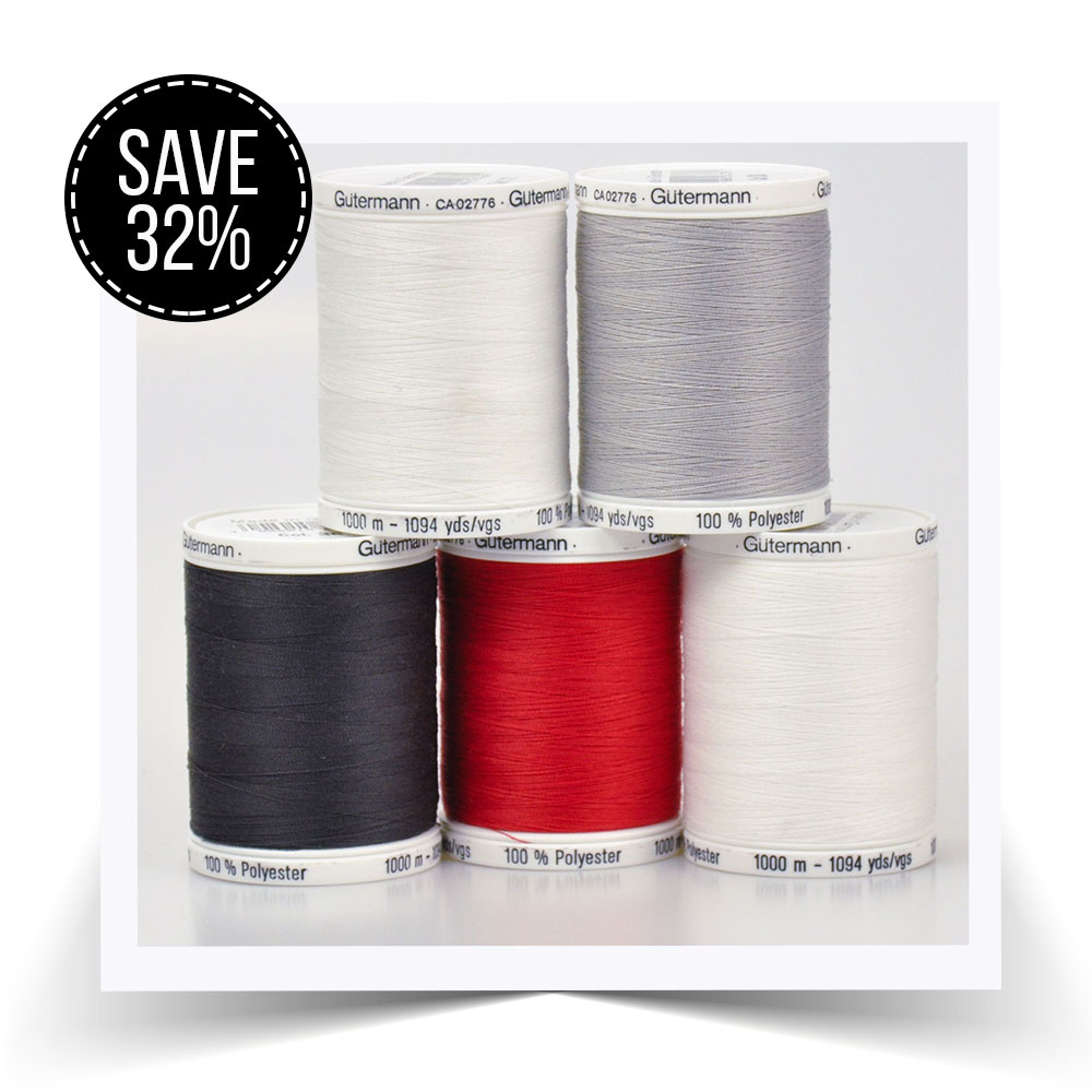 Save 32% on 5 spools of 1000m Gutermann Sew All Thread.