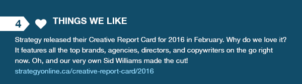 Things We Like - Strategy's 2016 Creative Report Card