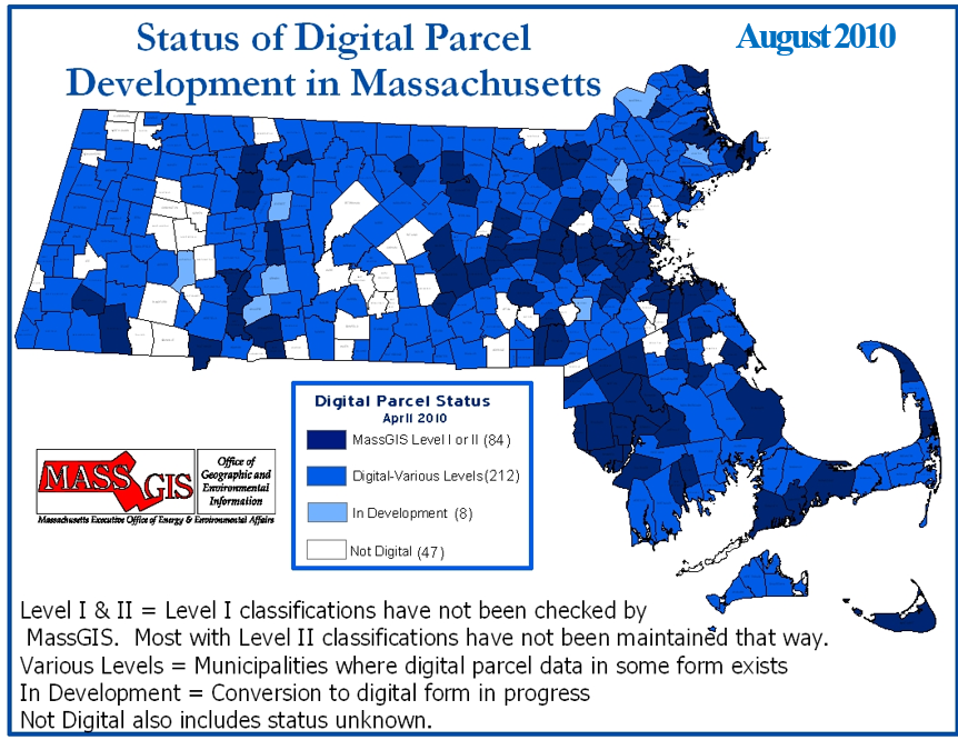 Status of standardized parcel mapping in 2010