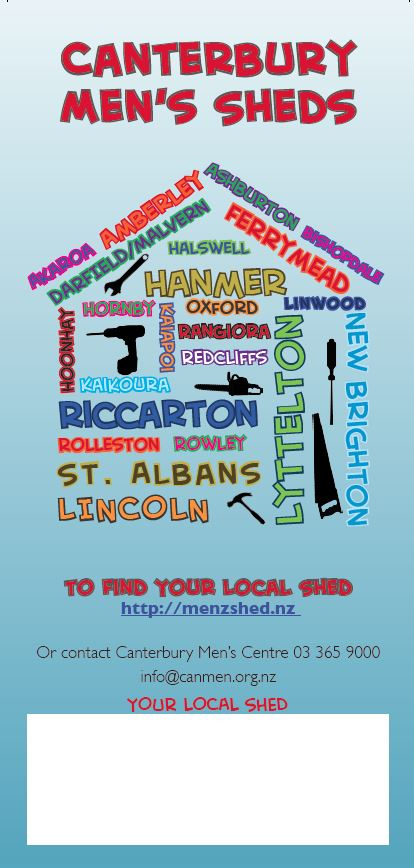 Canterbury Men's Sheds information flyer.