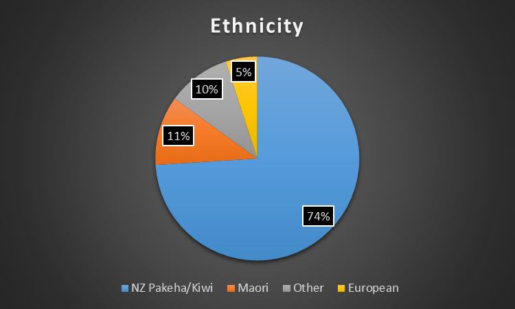 Pie chart showing the percentages of different client ethncities for the CMC.