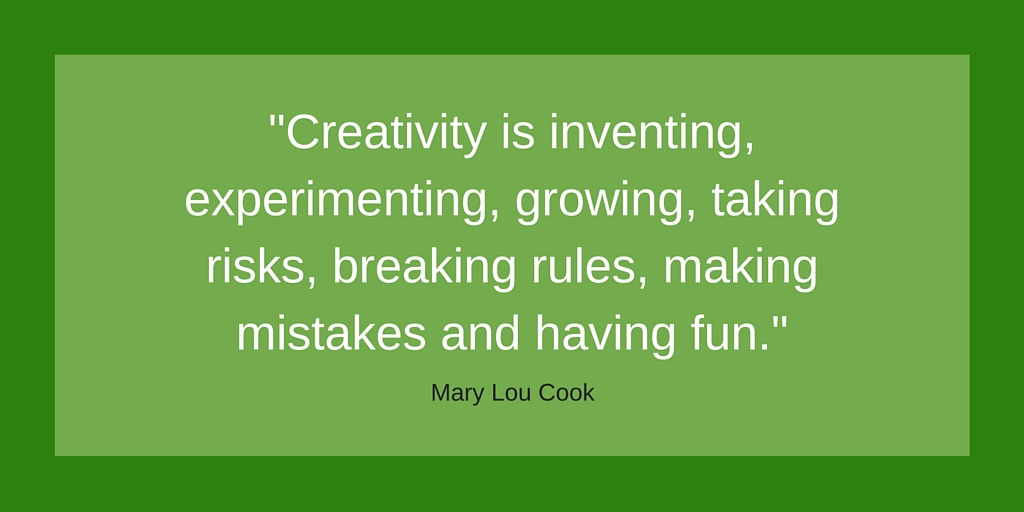 Creativity is inventing, experimenting, growing, taking risks, breaking rules, making mistakes and having fun