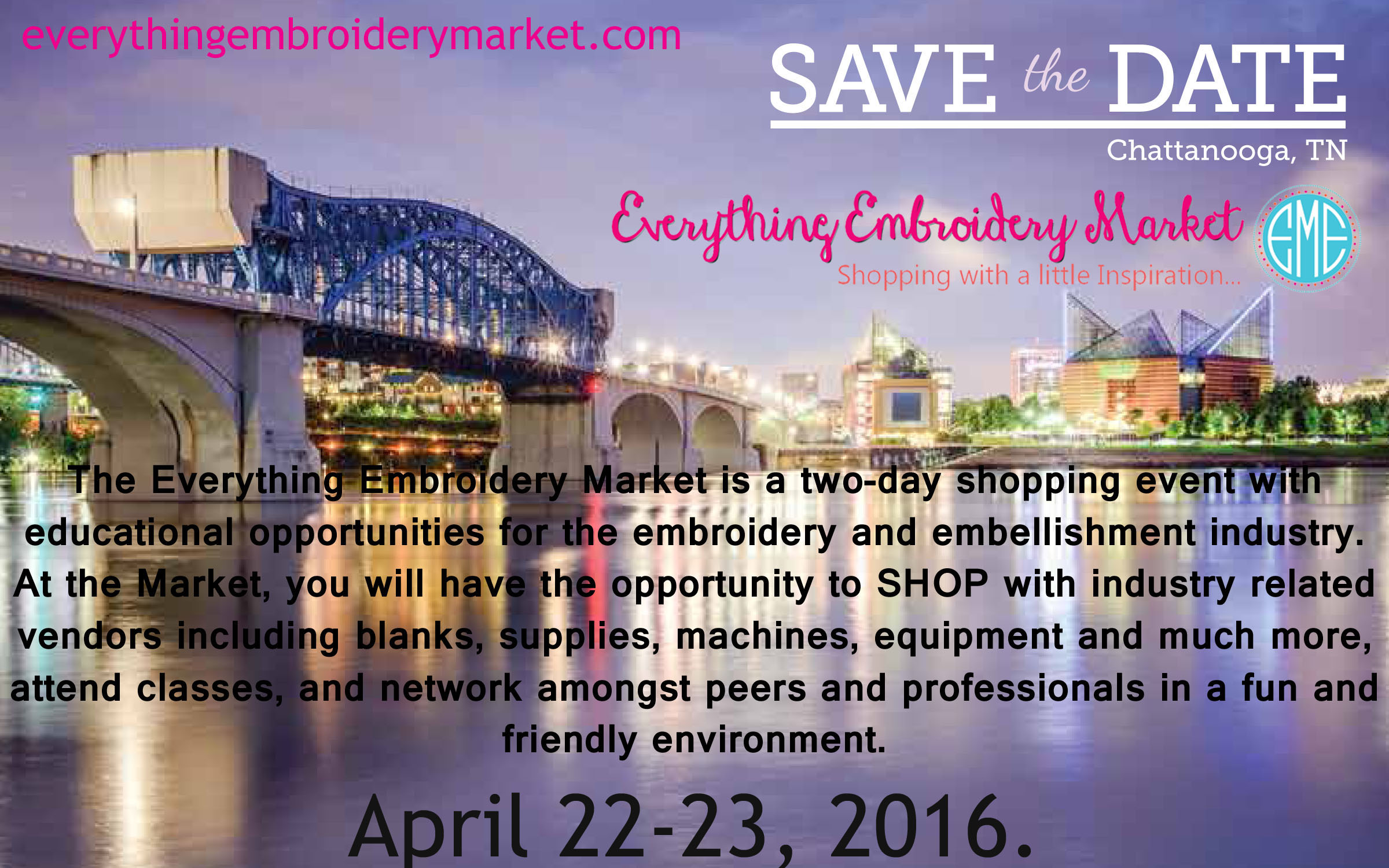 **GIVEAWAY** One FREE ticket to the Everything Embroidery Market
