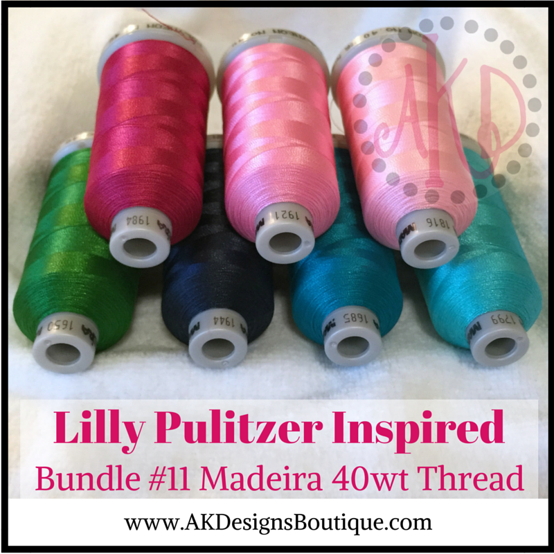 Bundle #11 Lilly P Inspired Madeira Polyneon Polyester 40 weight Thread Spools - 1100 yards each