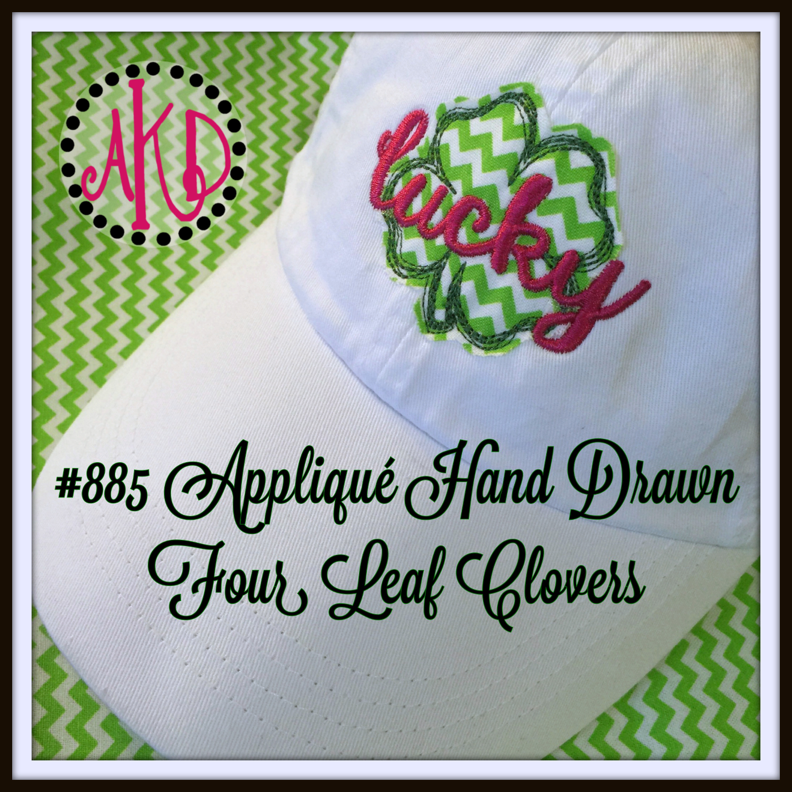 No 885 Applique Four Leaf Clover Hand Drawn Raw Edge Machine Embroidery Designs